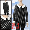 Lady White Peter Pan Collar Dots Print Chiffon Tunic Shirt Black XS