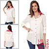Fuchsia Point Collar Button up Semi Sheer White Shirt XS for Women