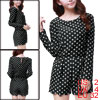 Dots Print Round Neck Zip up Back Long Sleeve Black Romper XS for Women