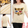Women Round Neck Short Sleeve Tiger Print Beige Shirt S