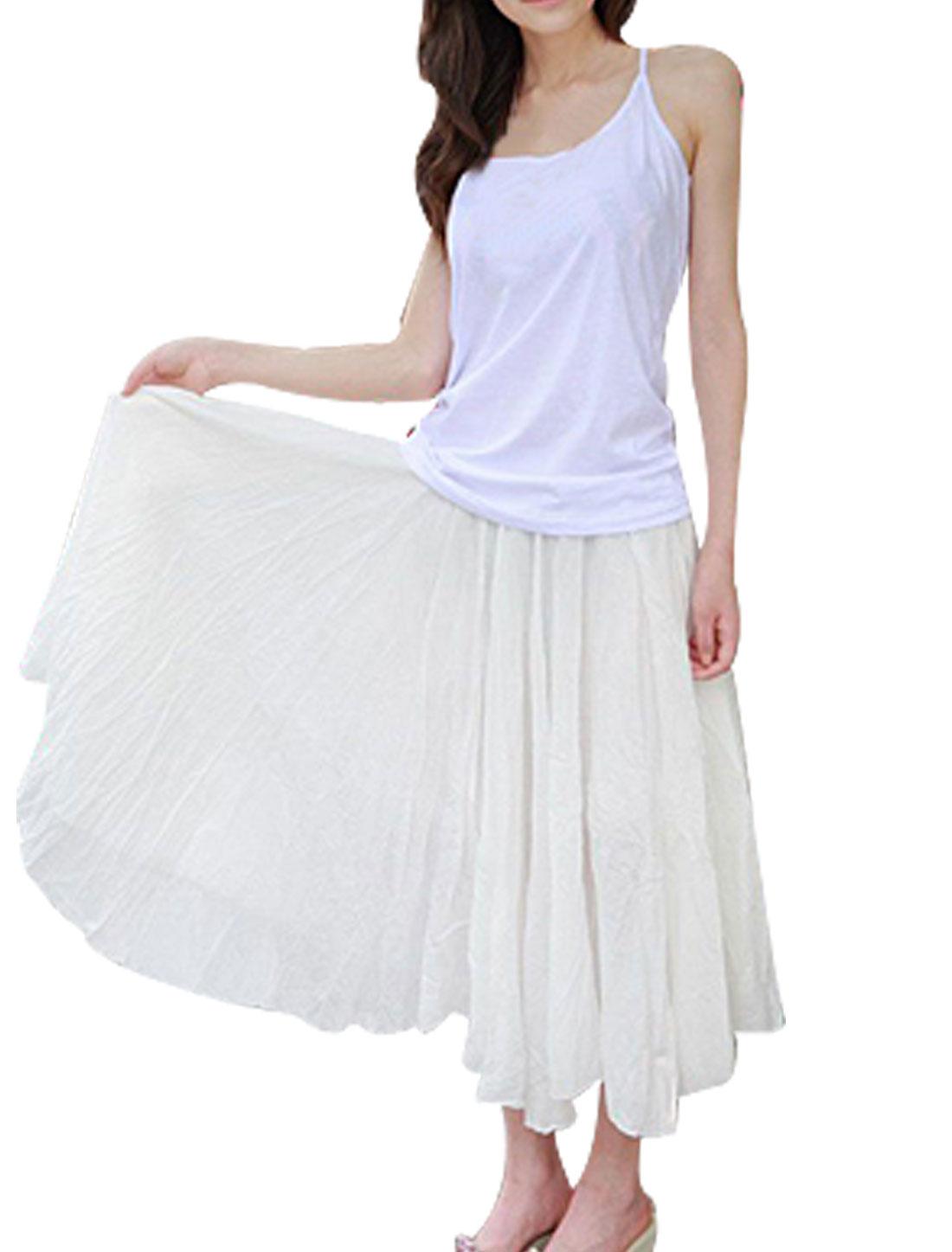 Ladies Elastic Waist Pleated Asymmetric Hem Maxi Skirt White XS
