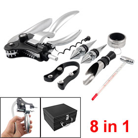 Wine Bottle Rabbit Style Opener Corkscrew Collar Pourer Stopper Set 8 in 1