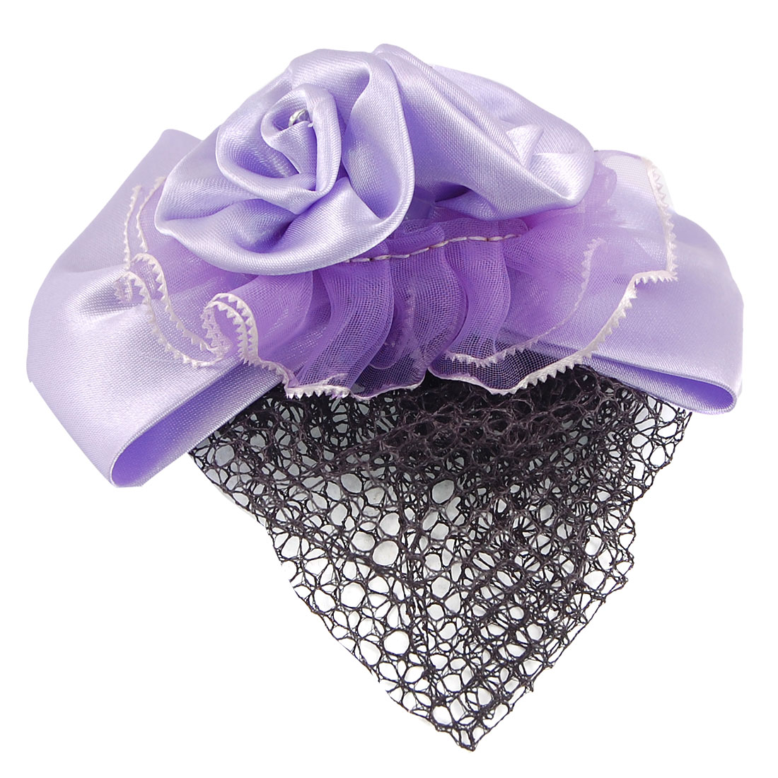 Double Flower Bowknot Barrette Hair Clip Bun Cover Purple w Net Snood