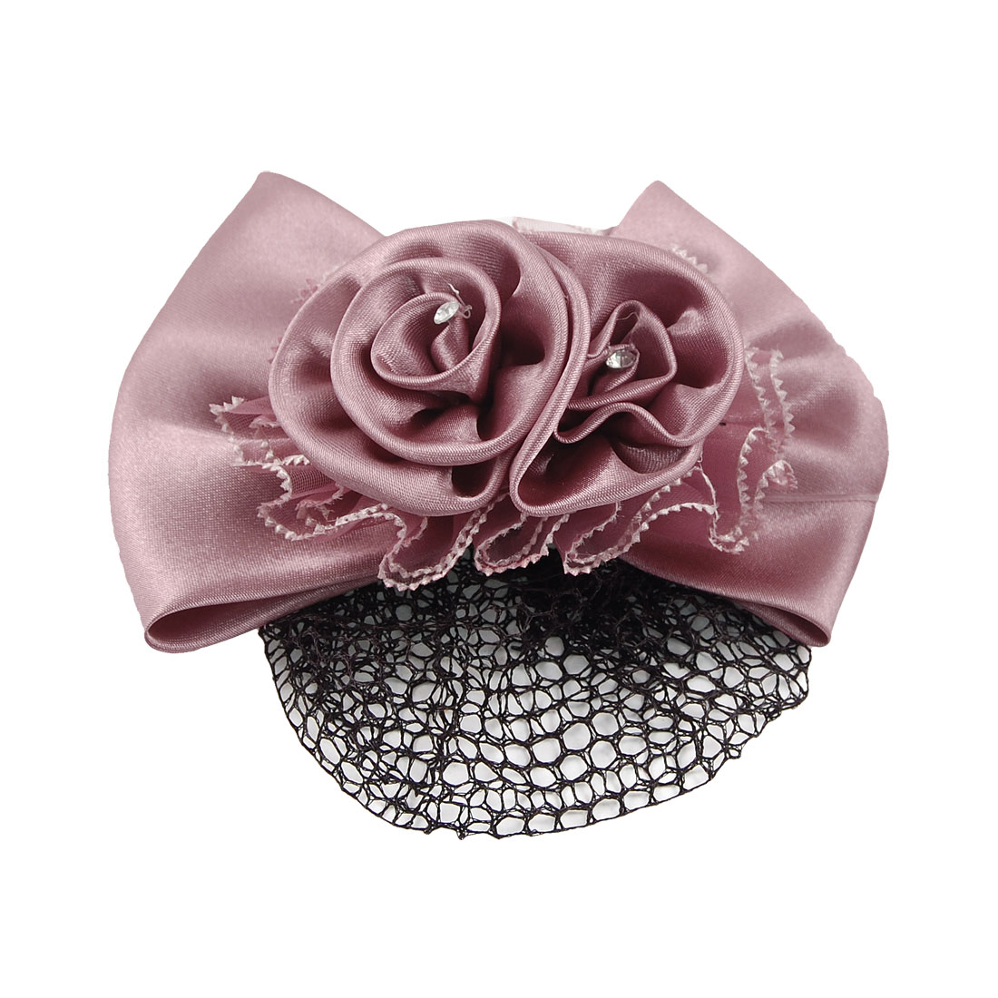 Mauve Bow Bowknot Snood Net Barrette Hair Clip Bun Cover for Woman