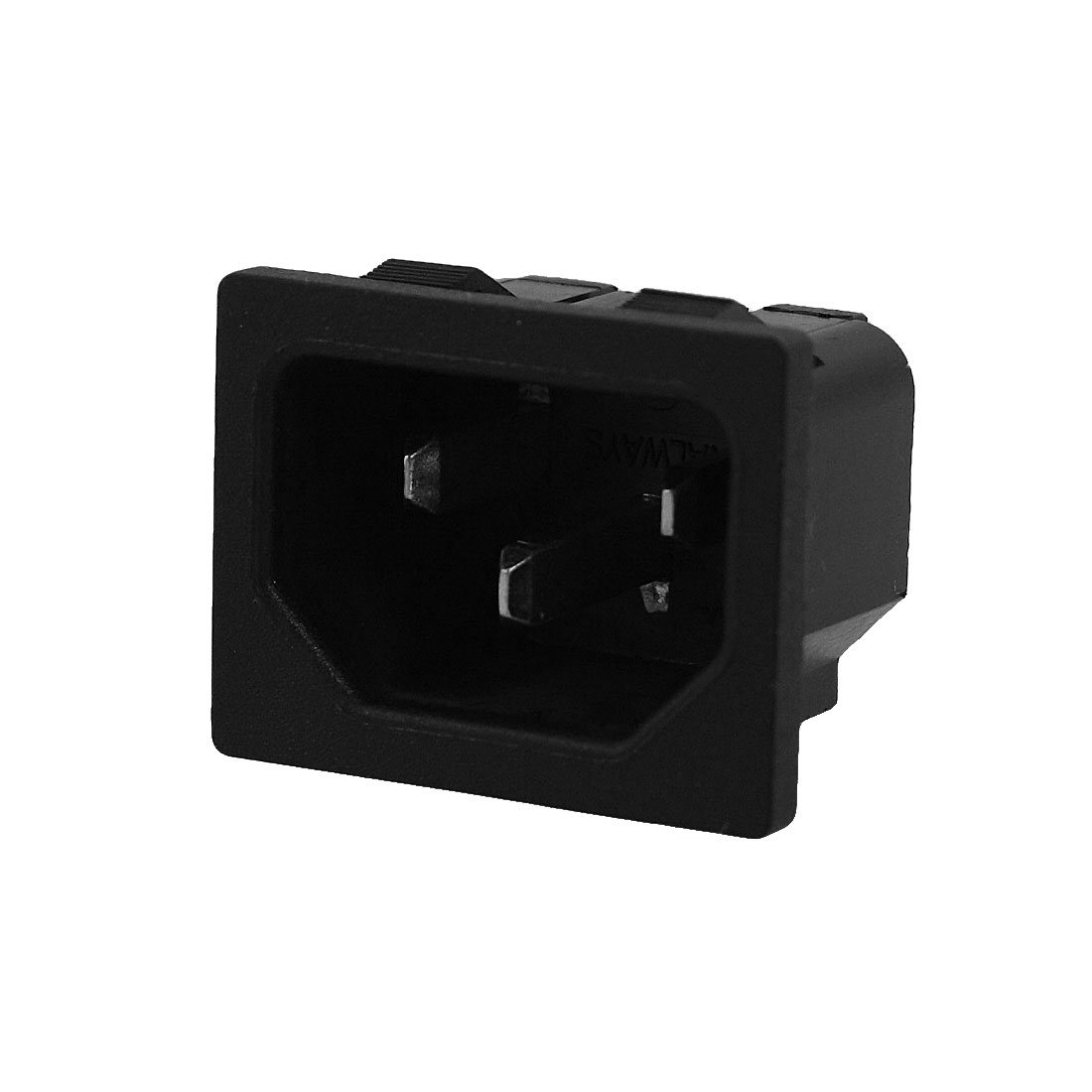 Black 3 Terminals IEC320 C14 Inlet Male Power Connector Socket AC 250V 10A