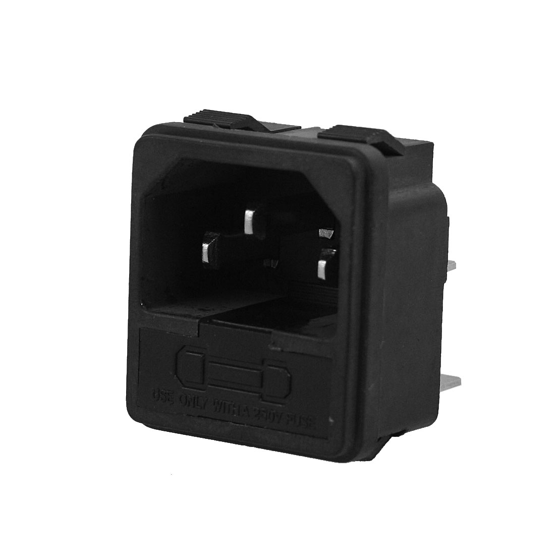 Black 3 Terminals IEC320 C14 Inlet Male Power AC 250V 10A Socket w Fuse Holder