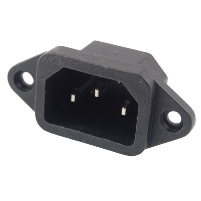 Male 3 Terminal Panel Mount C14 Power Adapter Connector 250V 10A
