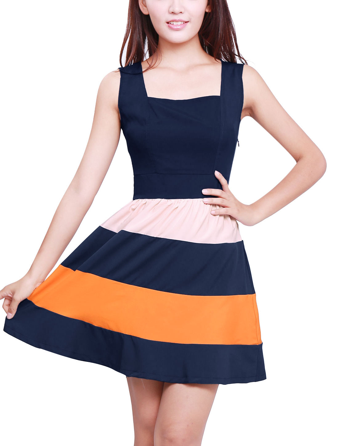 Woman Colour Block Sleeveless Square Neckline Tank Dress Dark Blue XS