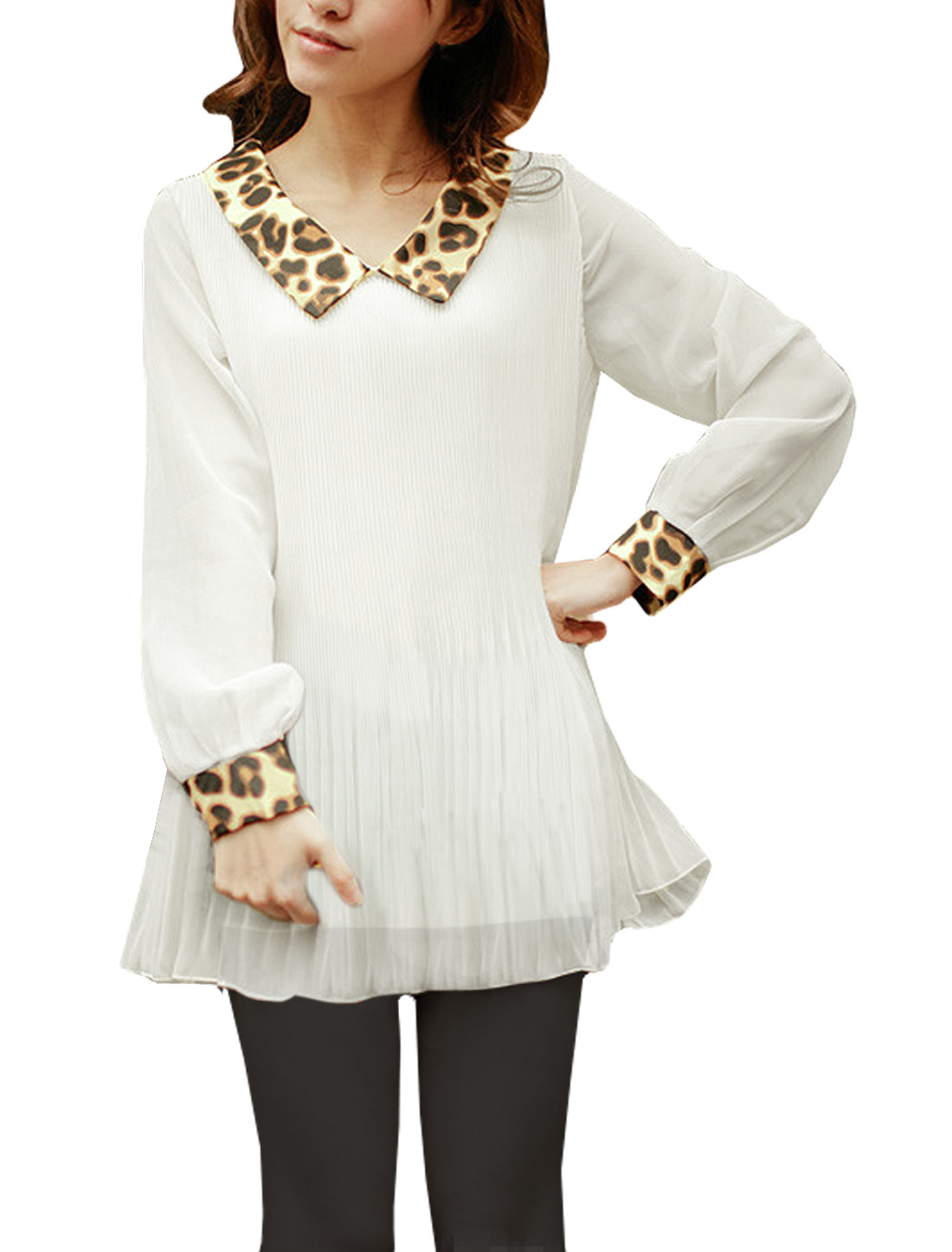 Ladies Leopard Print Collar White Accordion Pleats Tunic Blouse S