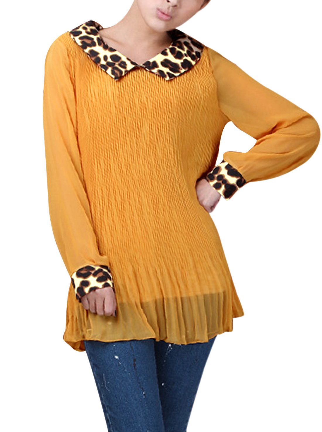 Woman Leopard Print Collar Long Sleeve Pleated Blouse Dark Yellow S