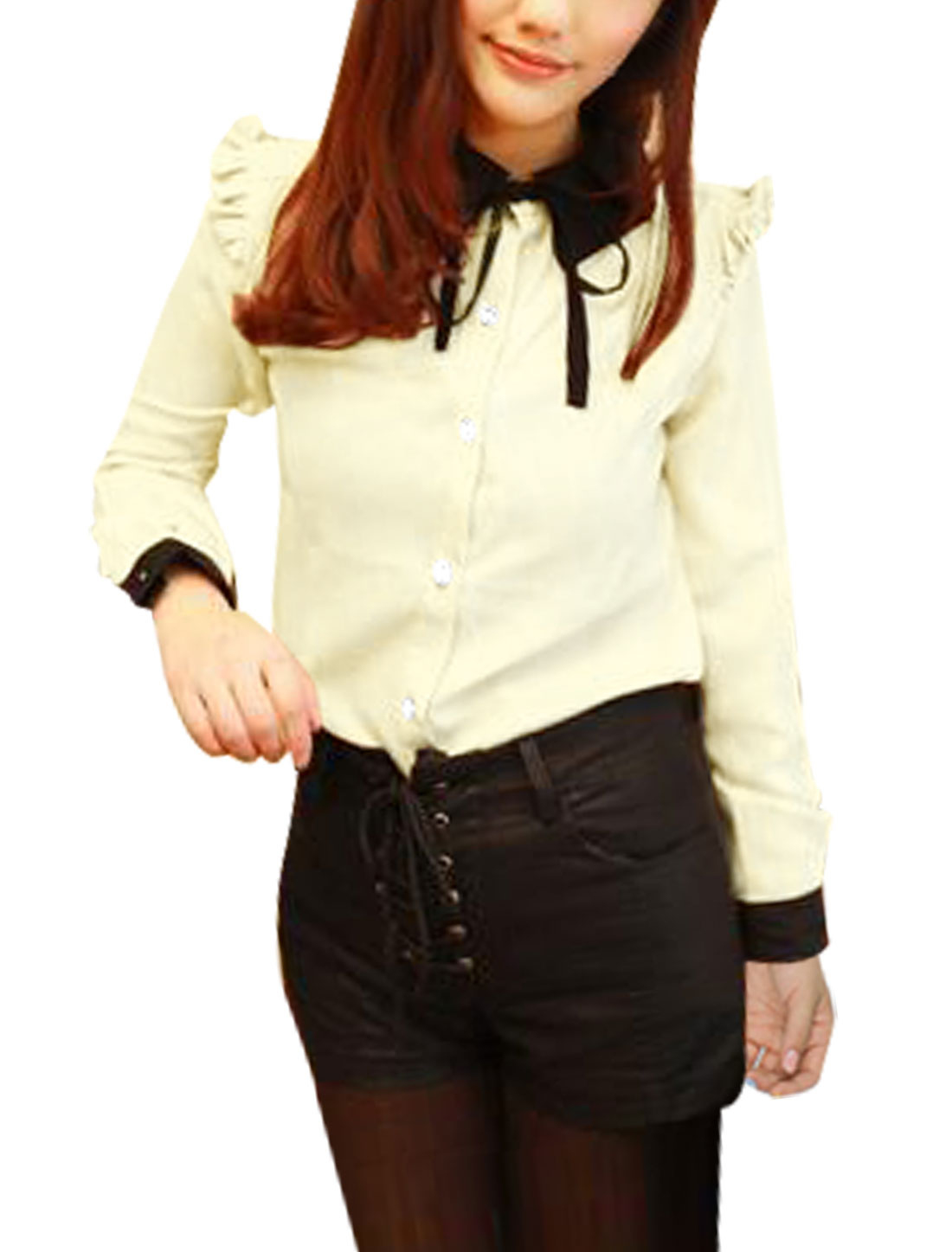 Woman Beige Long Sleeve Bow Ruched Collar Buttoned Shirt Top S