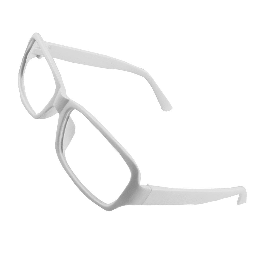 Women White Plastic Arms Full Rim Rectangular Eyeglasses Frame
