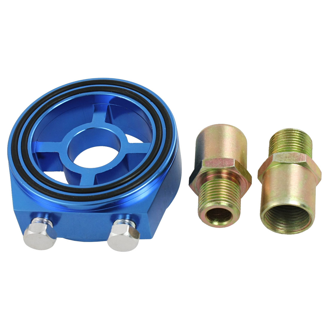 Universal Car Auto Blue Aluminum Oil Filter Sandwich Adapter Kit