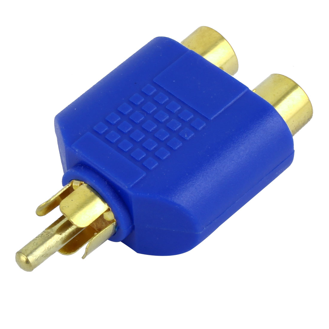 RCA Male to Double RCA Female Connector Adapter Splitter Blue