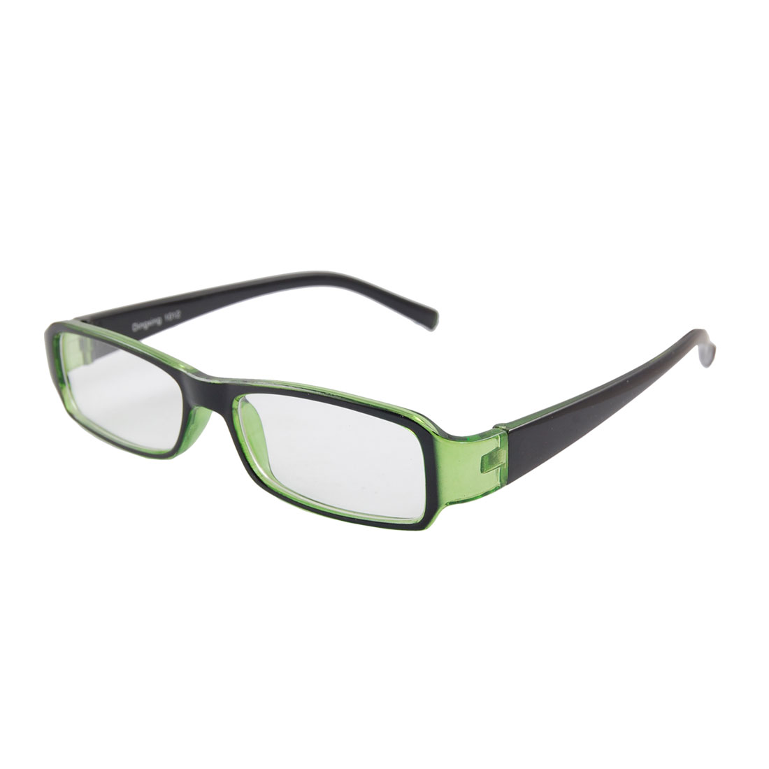 Plastic Full Frame Arms Plain Plano Eyeglasses Clear Green for Women