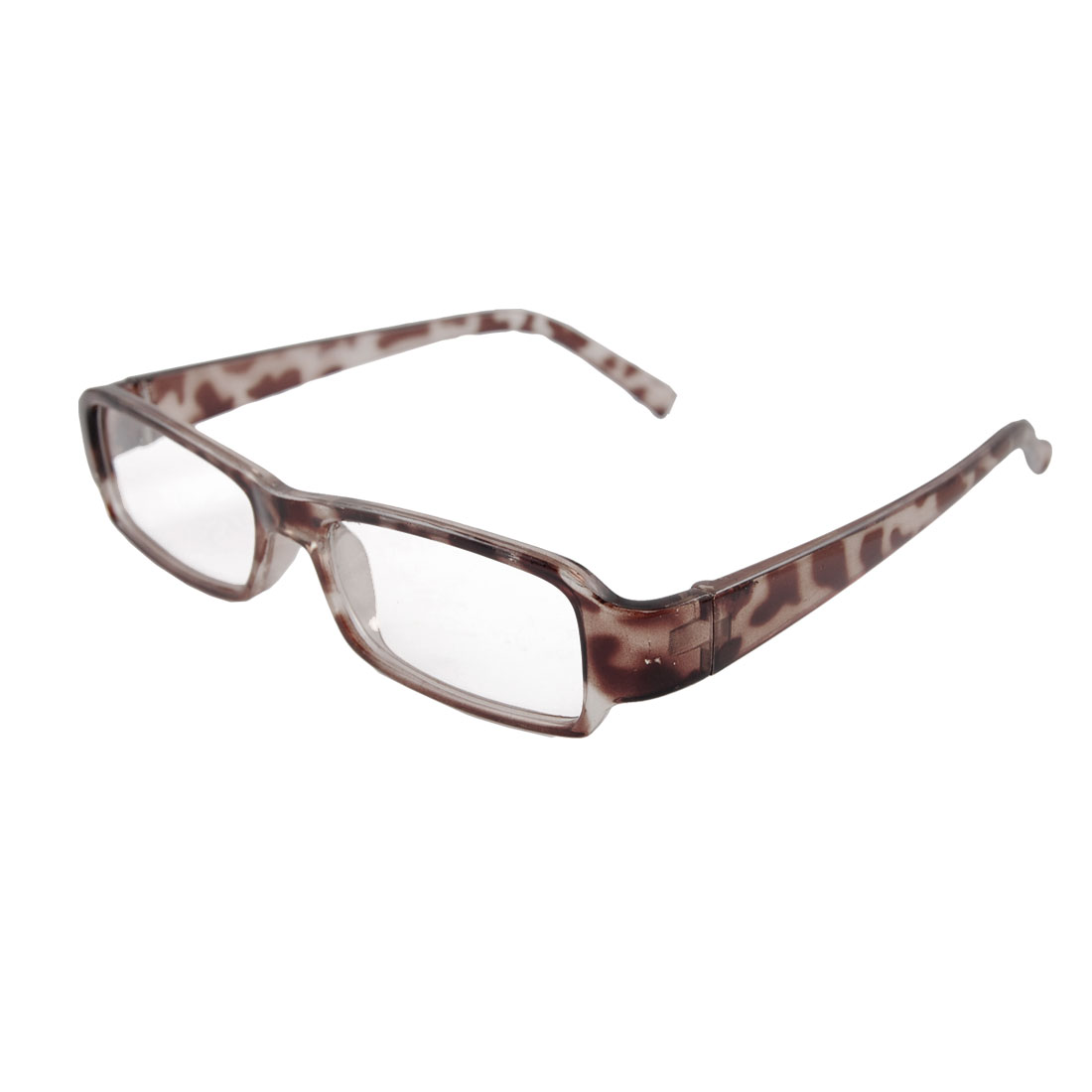 Leopard Pattern Full Frame Arms Clear Lens Eyeglasses Clear Brown for Women