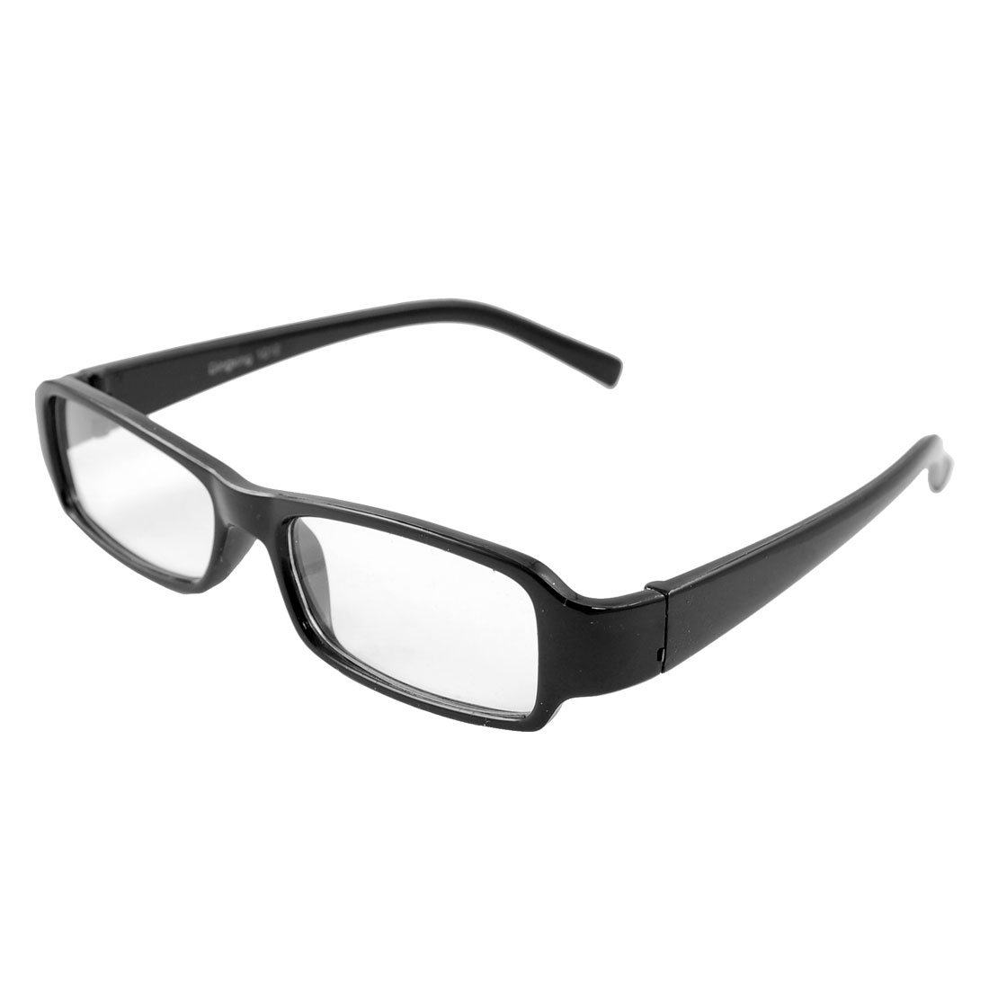 Woman Full Frame Plastic Arms Rectangle Lens Plain Glasses Black