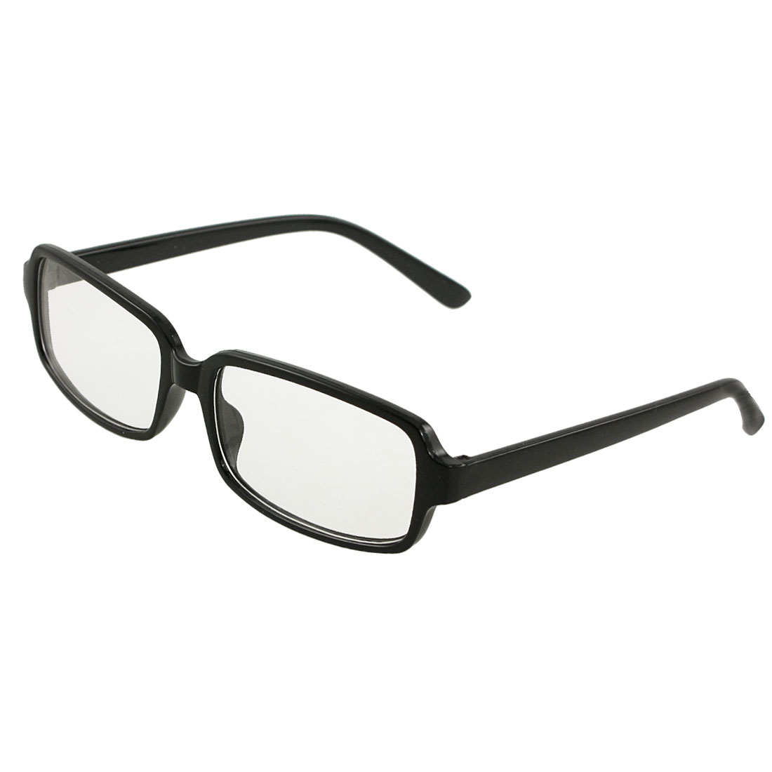 Unisex Black Plastic Full Frame Clear Lens Plain Eyewear Eyeglasses