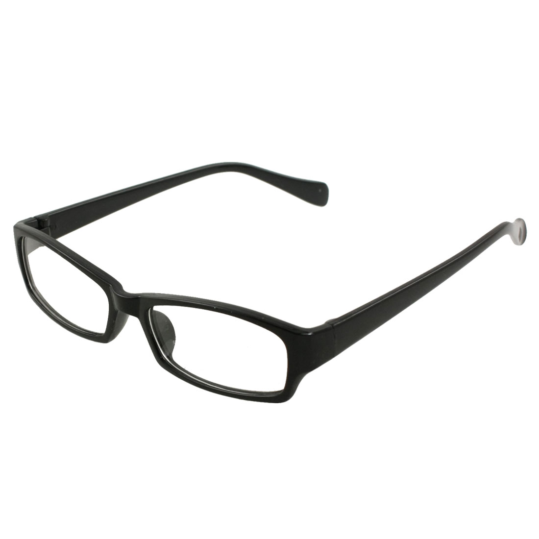 Man Woman Single Bridge Black Rectangle Frame Clear Lens Eyewear Glasses