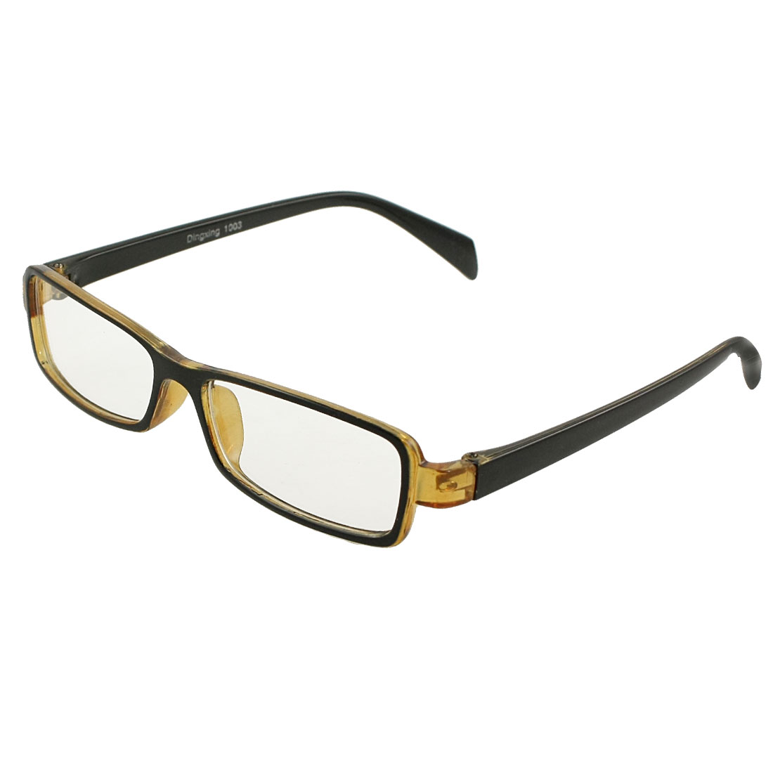 Unisex Light Brown Black Plastic Full Rim Clear Lens Plano Glasses Eyeglasses