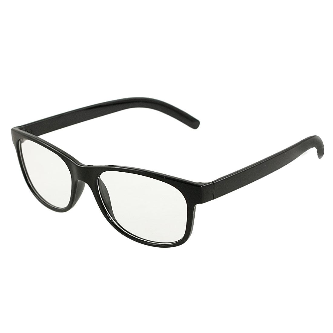 Unisex Single Bridge Black Rectangle Frame Clear Lens Plain Eyewear Glasses