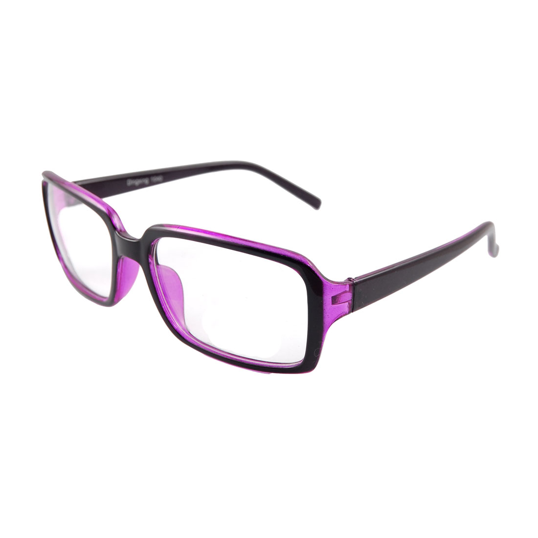 Unisex Dark Purple Plastic Arm Full Rim Plain Eyeglasses