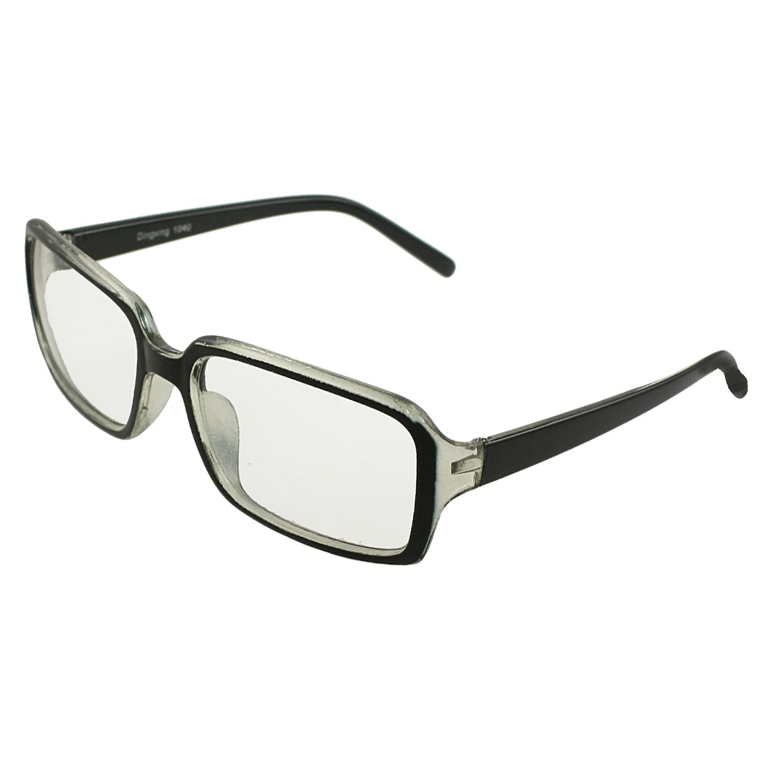 Plastic Black Clear Arms Rim Clear Lens Plain Glasses Spectacles for Men Woman
