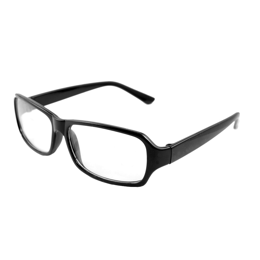 Plastic Full Frame Arms Rectangle Lens Black Plain Eyeglasses for Women