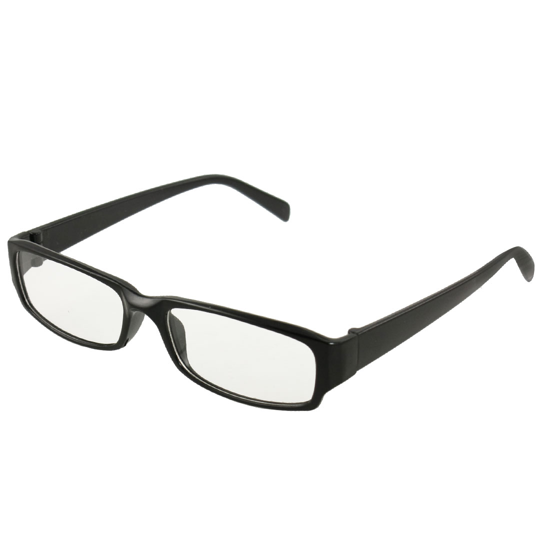 Lady Men Black Frame Rectangle Clear Lens Eyewear Plain Glasses