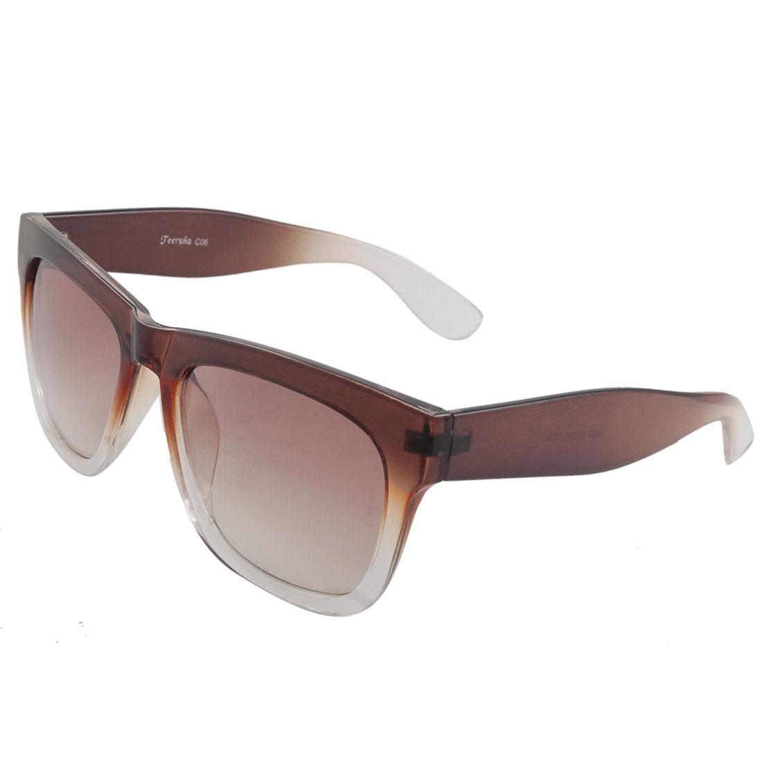 Woman Brown Clear Plastic Full Rim Frame Sunglasses