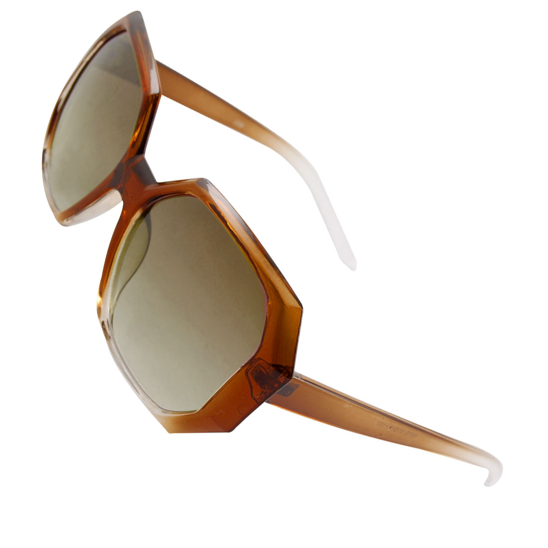 Brown Plastic Full Frame Colored Lens Sunglasses for Lady