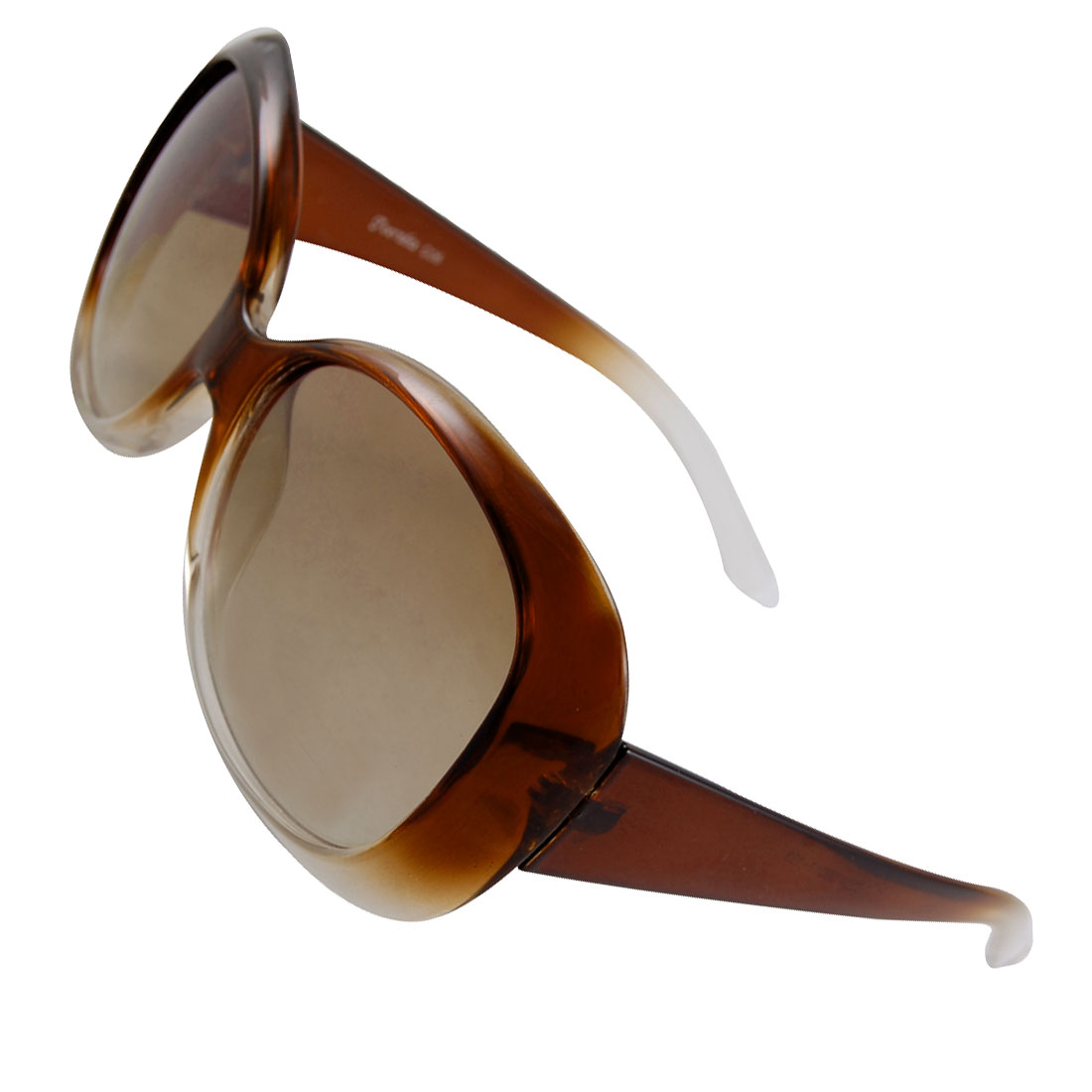 Oval Lens Plastic Arm Full Rim Sunglasses Brown Clear for Lady