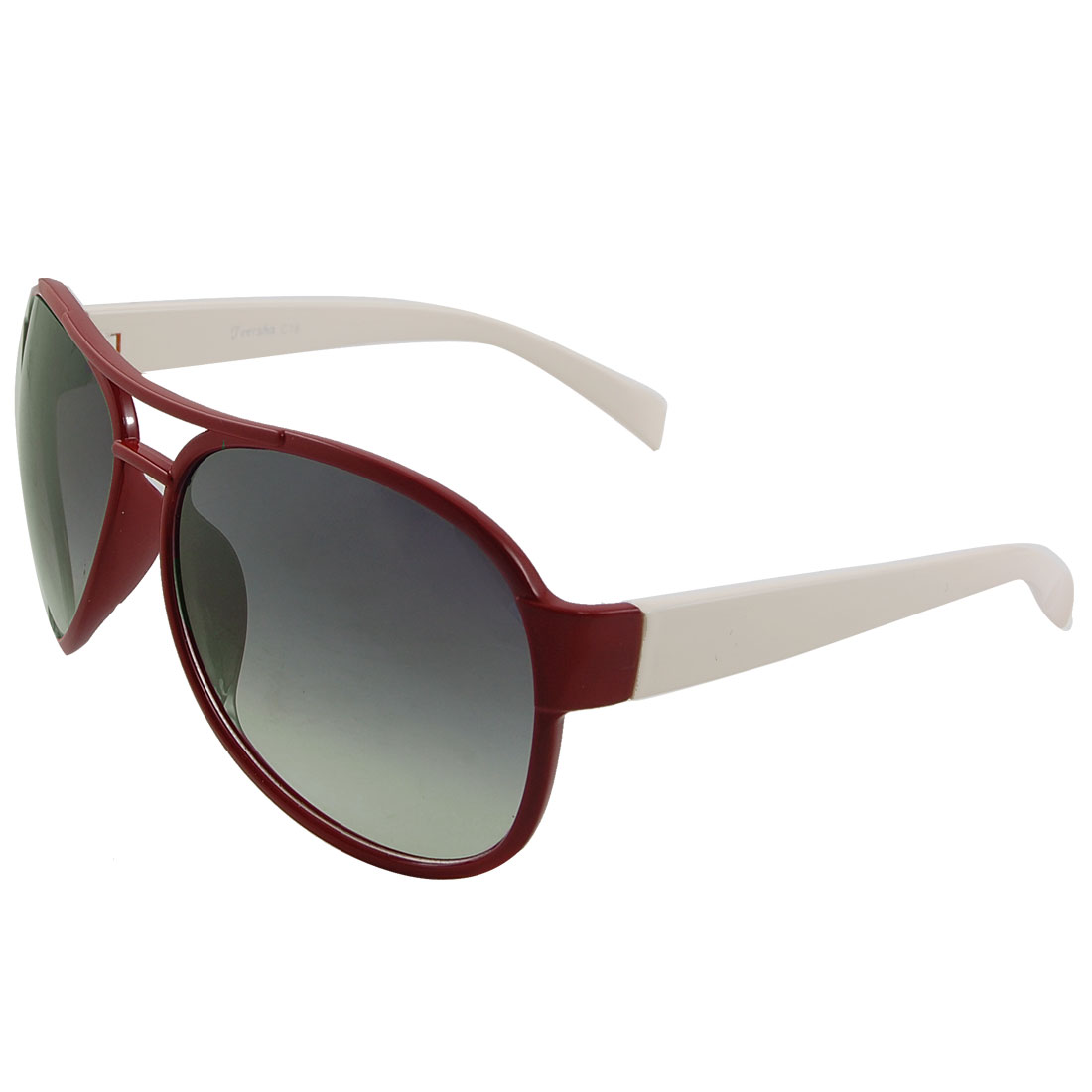 Women Smoke Lens Dark Red Plastic Full Frame Double Bridge Sunglasses