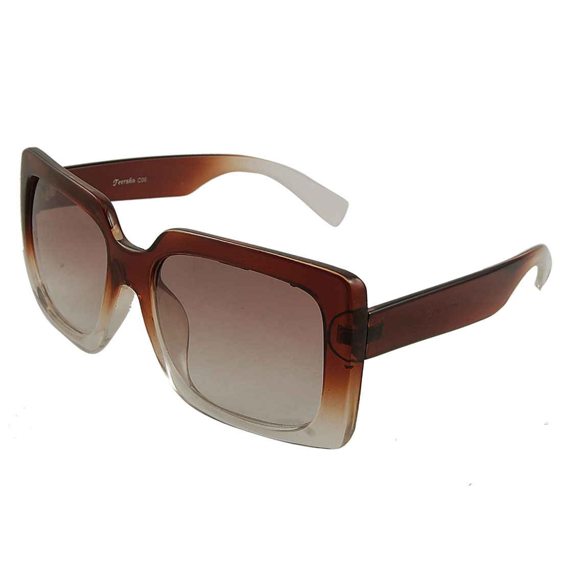 Women Lady Brown Clear Plastic Full Rim Frame Arms Sunglasses