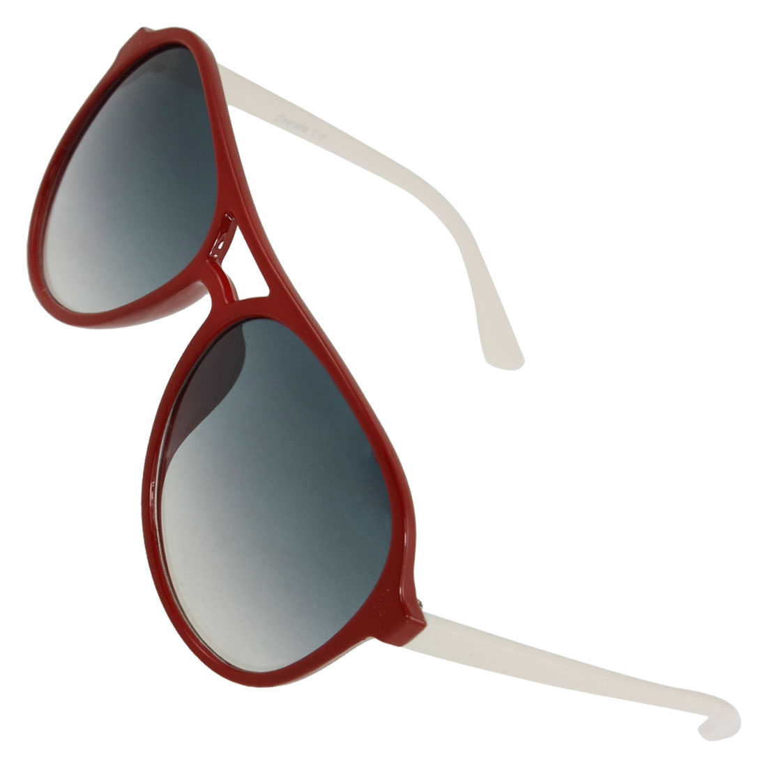 Lady Red Plastic Rimmed Double Bridge Gradient Lens Sunglasses