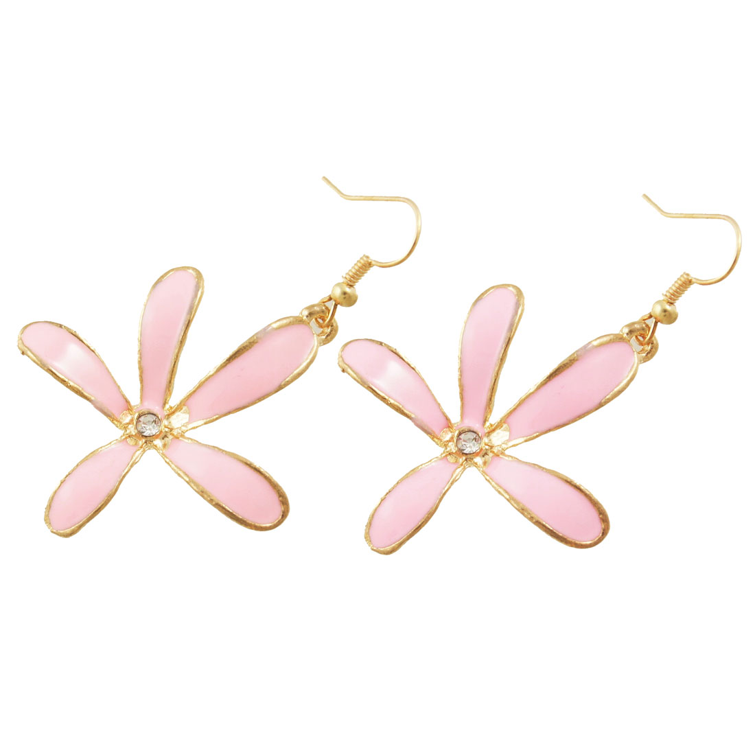 Pink Five Petals Floral Eardrop Gold Tone Fish Hook Earrings Gift for Woman