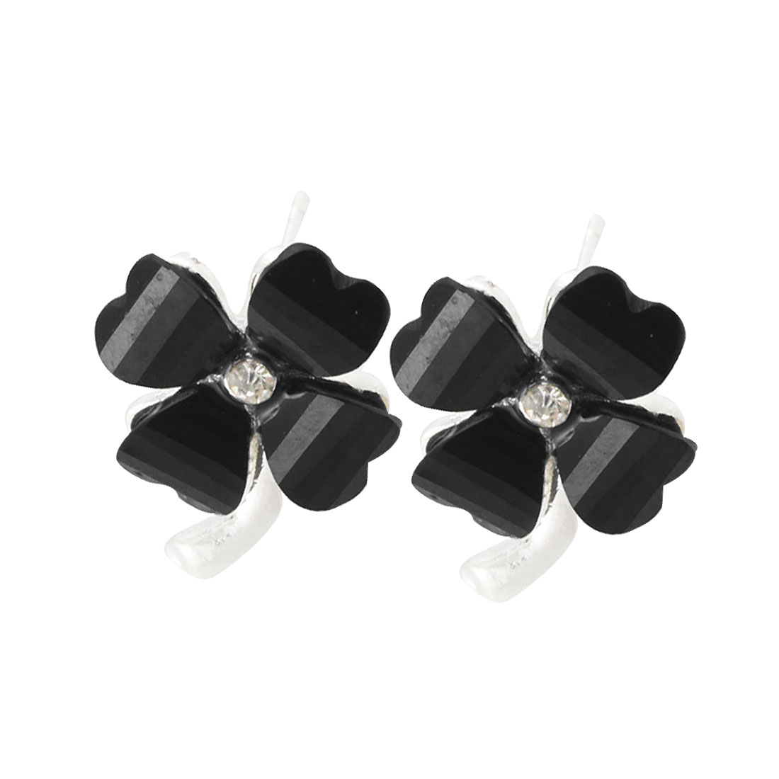 Ladies Rhinestone Accent Black Plastic Clove Type Stud Earrings Pair