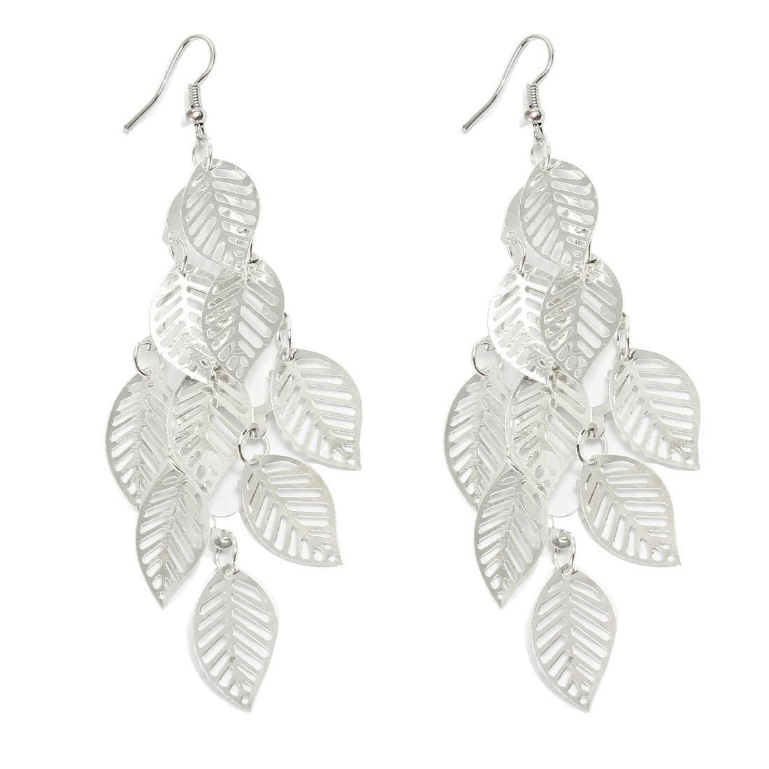 Women Silver Tone Hollow Leaf Accent Dangling Hook Earrings Eardrop Pair