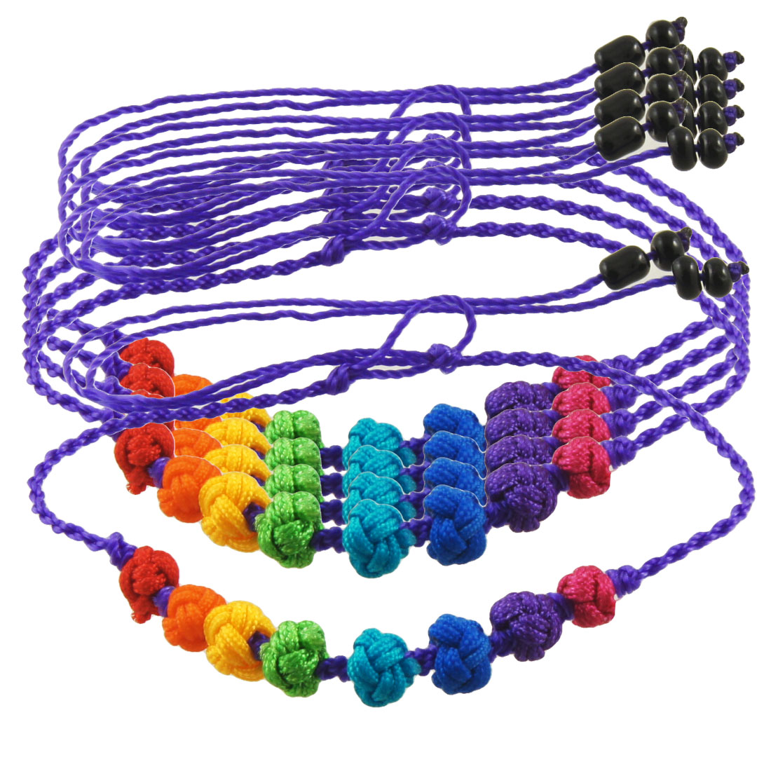 Braided Nylon Ball Decor Adjustable Handmade Braid Purple String Strand Bracelet 5 Pcs