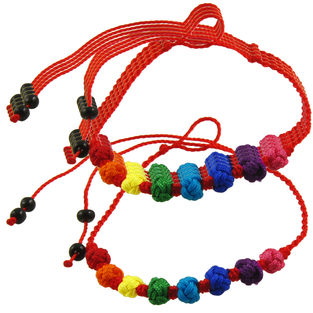 5 Pcs Colorful Braided Ball Decor Red Strand String Beads Adjustable Chain Bracelet