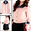 Ladies Pink Long Sleeve Bowknot Point Collar Buttoned Shirt Top XS