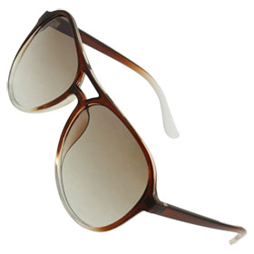 Women Brown Plastic Full Frame Raindrop Colored Lens Sunglasses