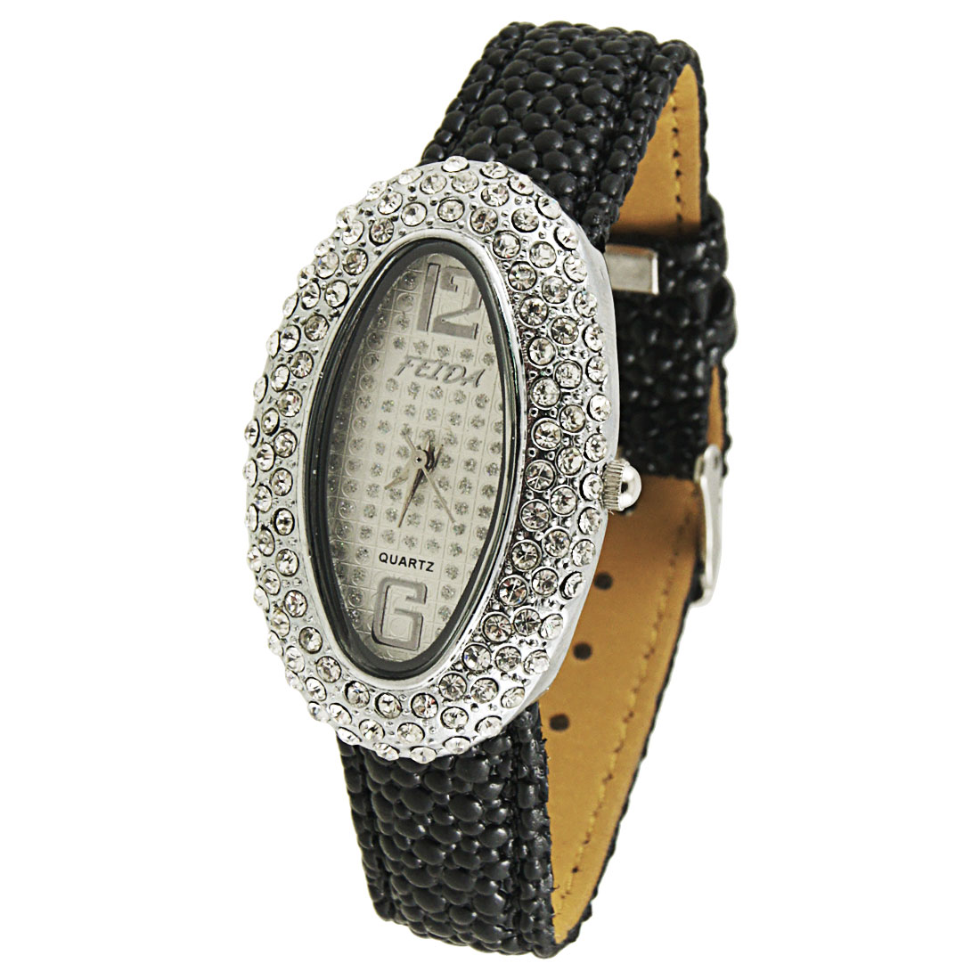 Women Black Snake Pattern Faux Leather Band Oval Shaped Case Wrist Watch