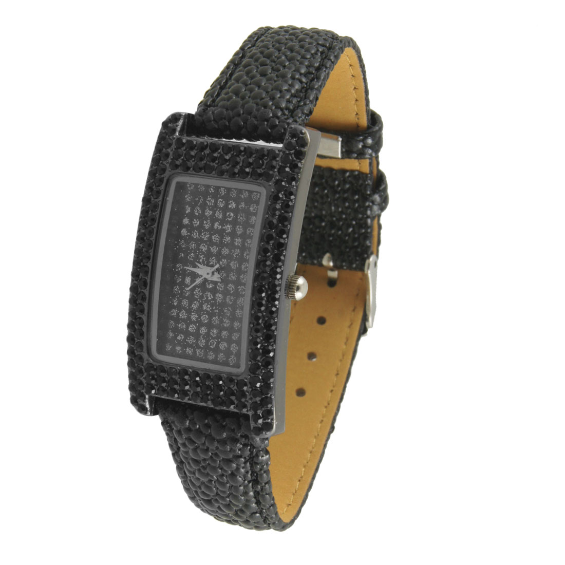 Women Rhinestone Accent Rectangle Shaped Case Black Faux Leather Band Watch