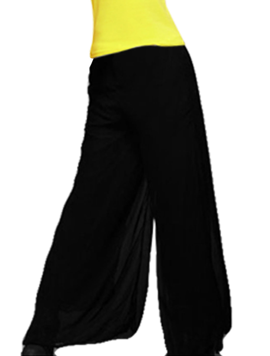 Ladies Elastic Waist Black Chiffon Loose Full Length Pants XS