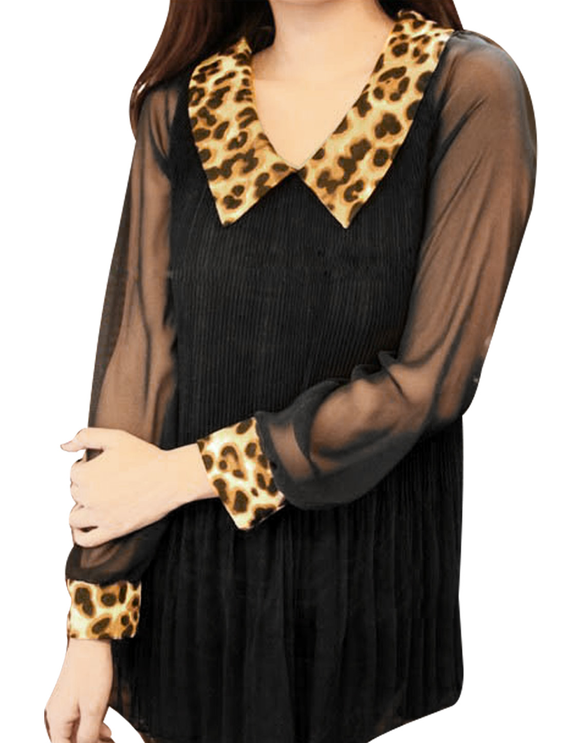 Ladies Black Long Semi Sheer Sleeve Pleated Chiffon Shirt XS