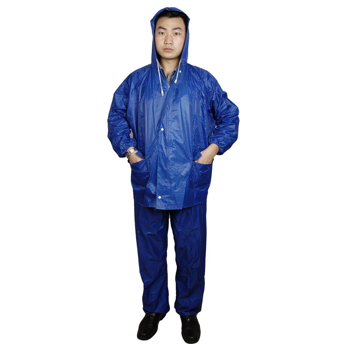Zipper Hooded Top Water Resistant Pants 2 Pieces Motorcycle Rain Suit Blue