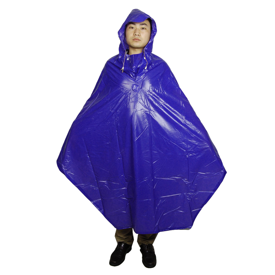 Man Woman Soft Water Resistant Bicycle Bike Rain Poncho Raincoat Blue