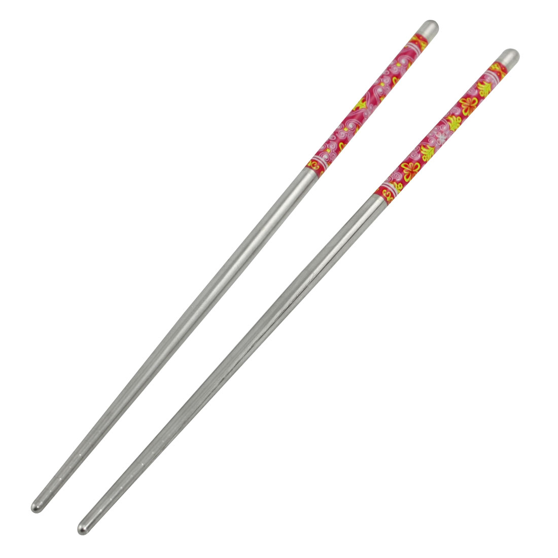 Red Flower Print Round Top Stainless Steel Chopsticks 5 Pairs