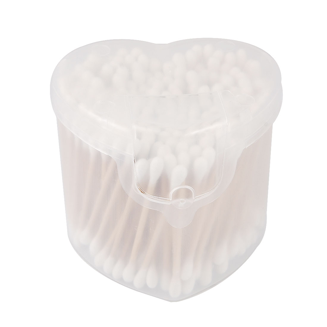 1 Pack Disposable Double Head Cotton Swab Bud White w Heart Shape Case